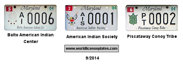 License Plates of American Indians in Maryland
