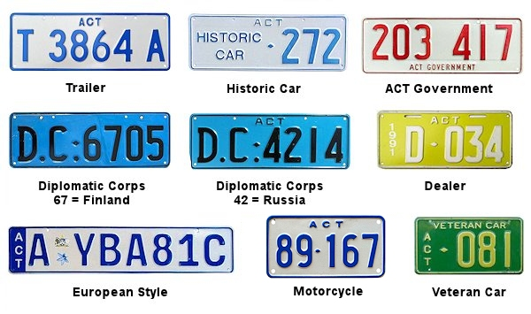 Capital Territory License Plates