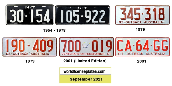 Northern Territory License Plates