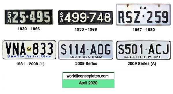 South Australian License Plates