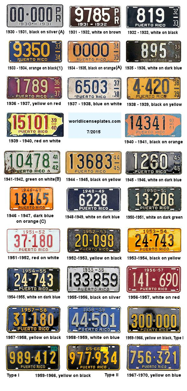 License Plates of Puerto Rico