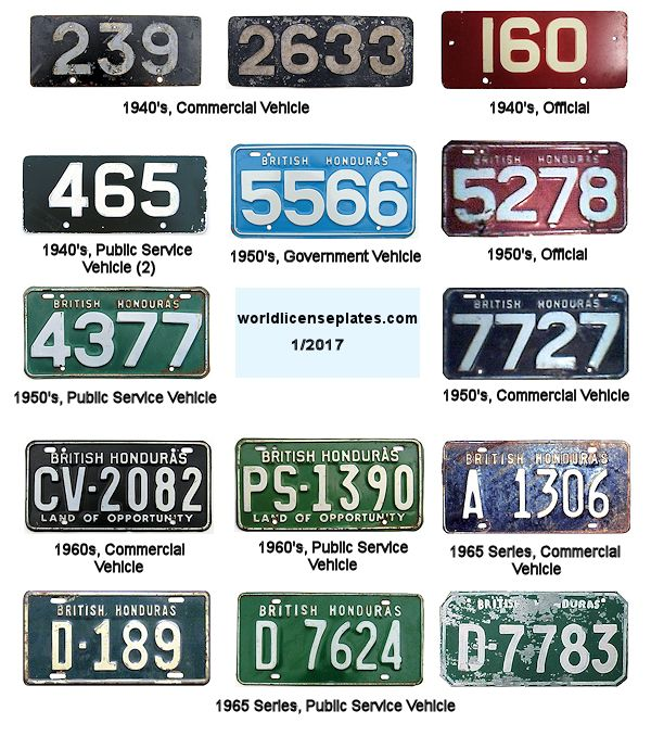 Brit. Honduras License Plates