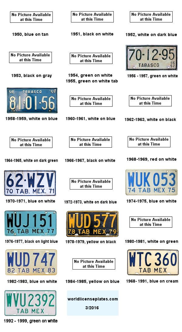 Tabasca License Plates 1950's - 1990's