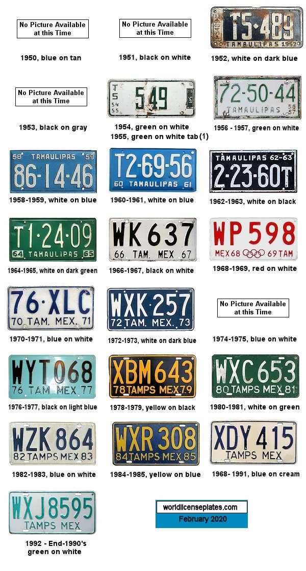 Tamaulipas License Plates 1950's - 1990's