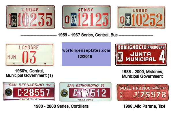 Departments Paraguay License Plates