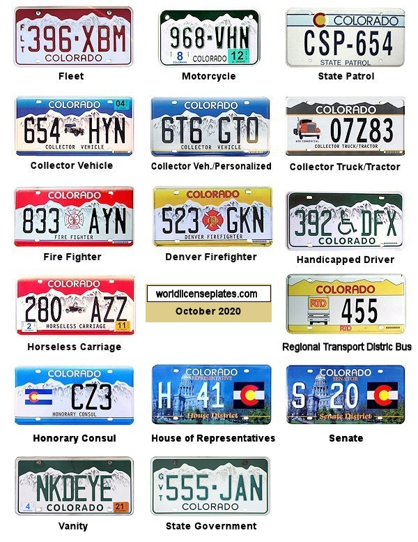 Motor Vehicle Colorado License Plates