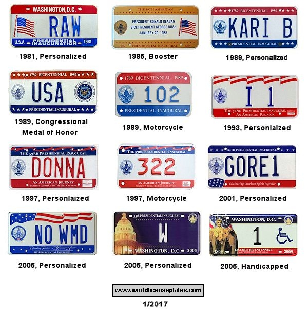 Presidential Inauguration License Plates