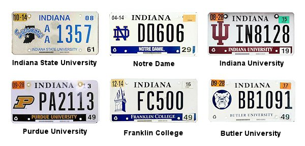 Indiana License Plates