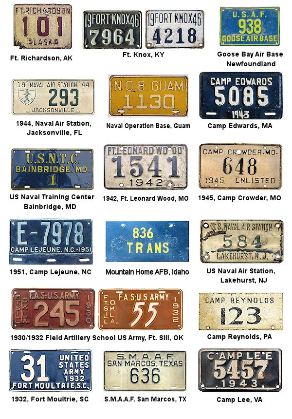 License Plates of the U S  Military Forces