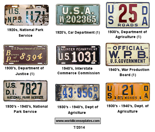 US Government License Plates