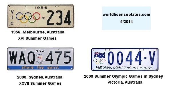 Olympic License Plates of Australia