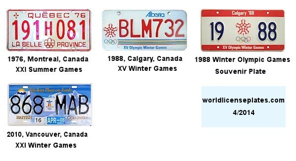 Olympic License Plates of Canada