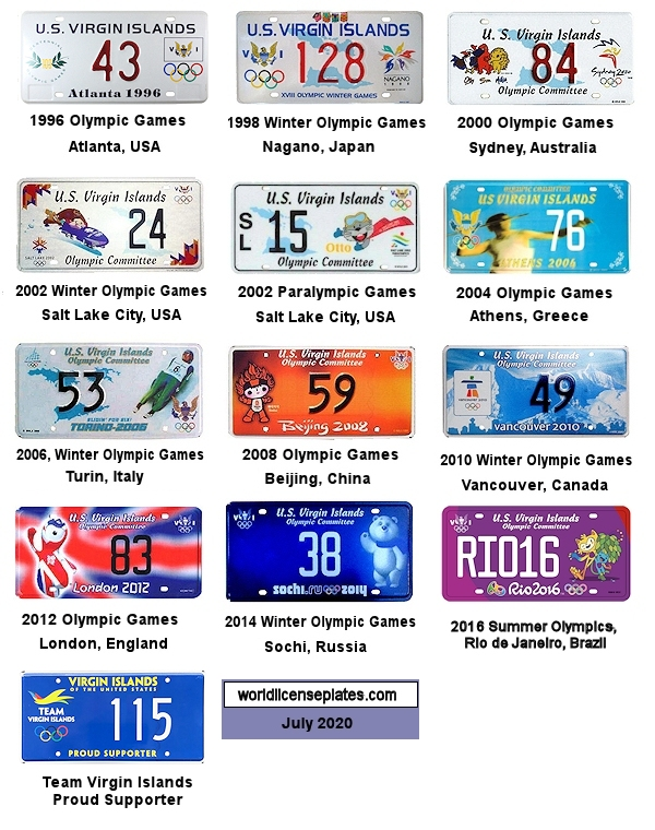 Olympic License Plates of the USVI