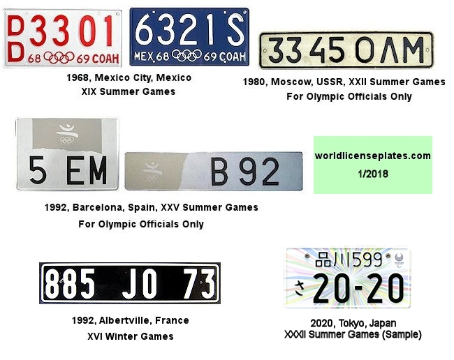 Olympic License Plates of the World
